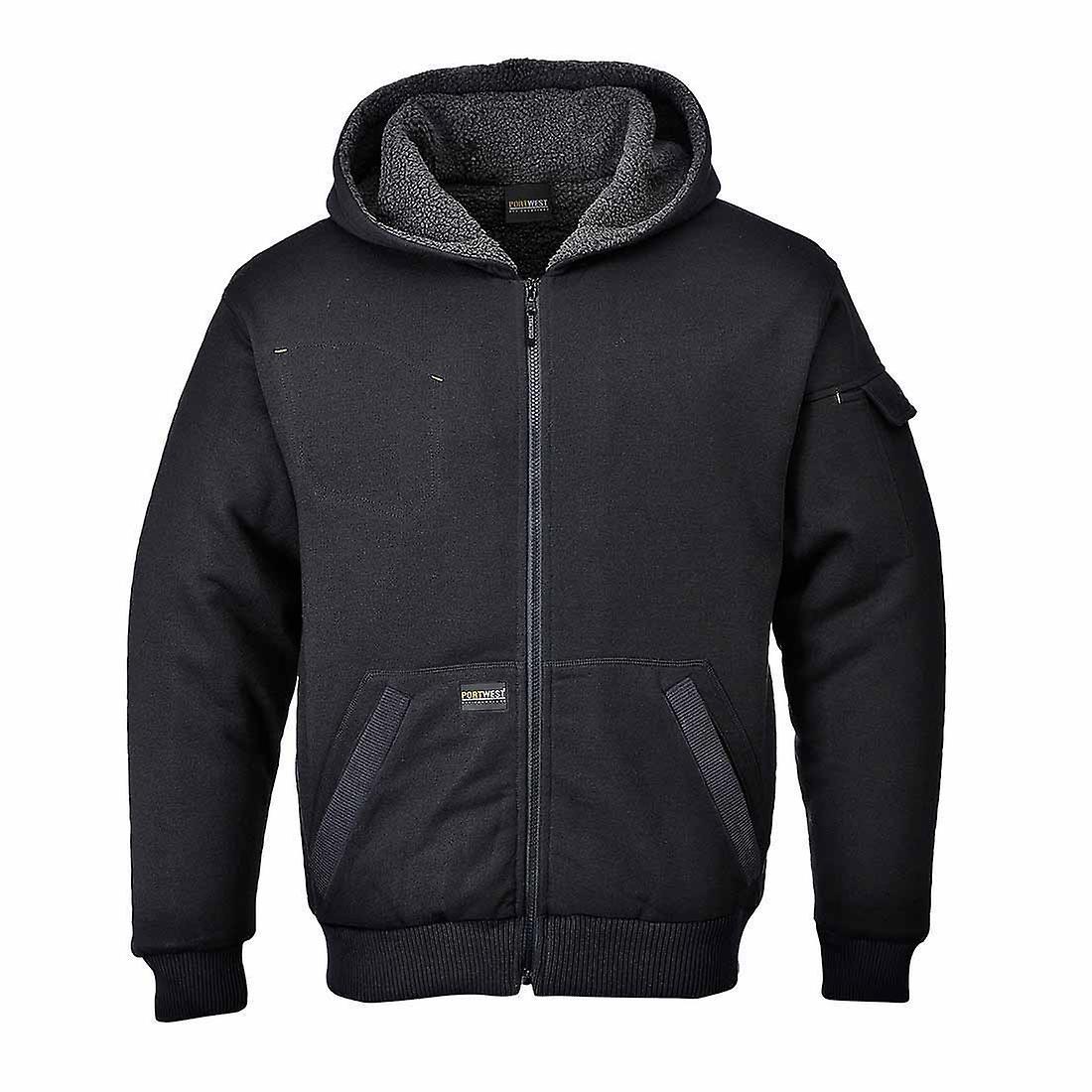 SUw - Pewter Classic vêtehommests de travail Sherpa Pile Lined veste With Hood