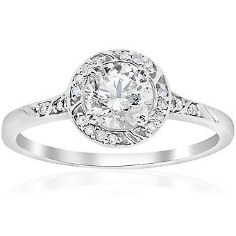 1ct Vintage Halo Diamond Sculptural Engagement Ring 14K White Gold