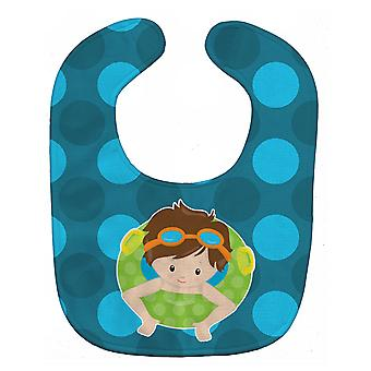 Carolines Treasures  BB8996BIB Summer Pool Boy in Tube Brunette Baby Bib