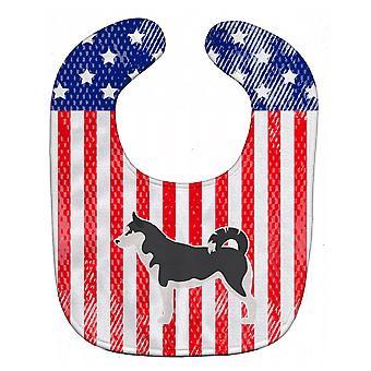 Carolines Schätze BB3380BIB USA patriotischen Siberian Husky Baby Lätzchen