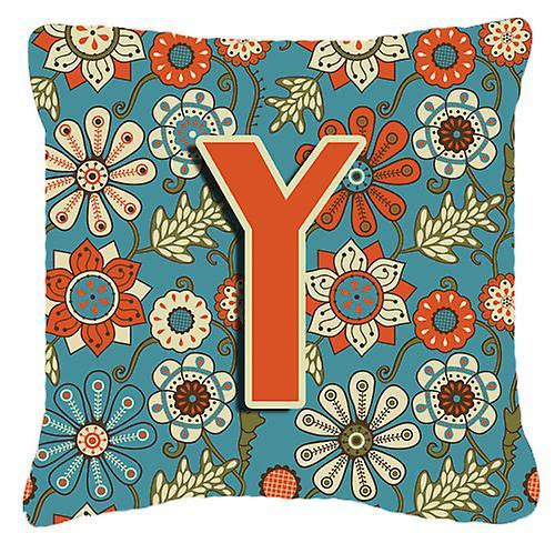 Lettre Y fleurs rétro toile bleu tissu oreiller décoratif