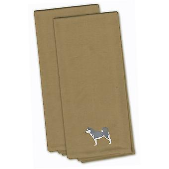 Siberian Husky Tan Embroidered Kitchen Towel Set of 2