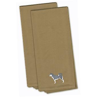 Husky siberiano Tan bordado juego de toalla de cocina de 2