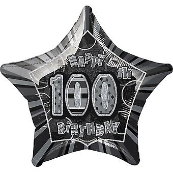 Unique Party 20 Inch Happy 100th Birthday Black Star Foil Balloon