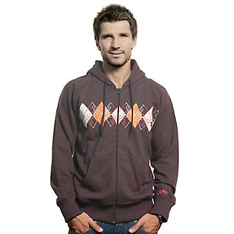 Mens Argyle Zip Hooded Sweater / / Brown cotton/30% 70% poliestere