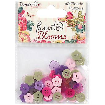 Dovecraft Painted Blooms Plastic Buttons 60/Pkg- DCBTN017