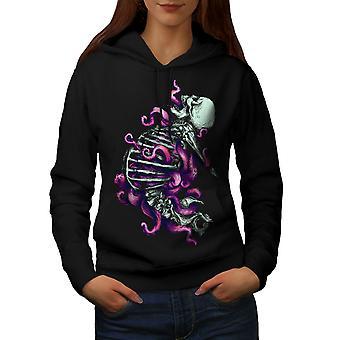 Magic Horror Death Skull Women BlackHoodie | Wellcoda