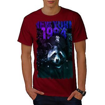 NY Racoon Officer Animal Men RedT-shirt | Wellcoda
