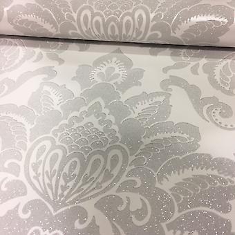 Damask Wallpaper Glisten Glitter Sparkle Luxury Weight Textured Silver Arthouse