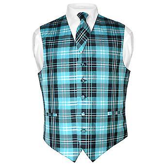 Мужской жилет платье шотландка дизайн & галстук шею галстук набор