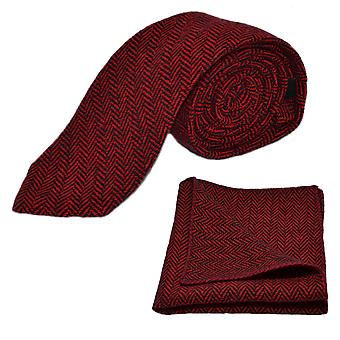 Tranbär röd & svart Fiskbens slips & Pocket Square Set