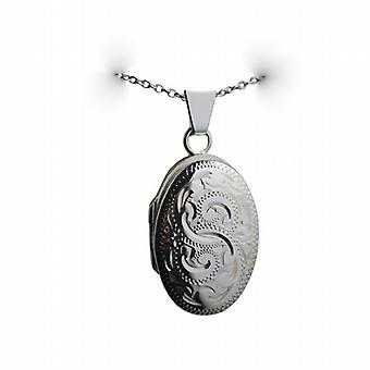 Silver 22x15mm hand engraved oval Locket with a rolo Chain 14 inches Only Suitable for Children