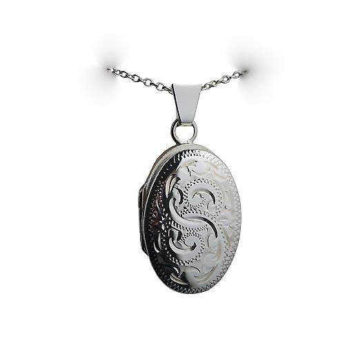 Silver 22x15mm hand engraved oval Locket with a rolo Chain 18 inches