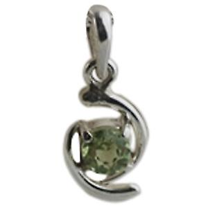 Silver 12x7mm Pendant set with 4mm round Peridot
