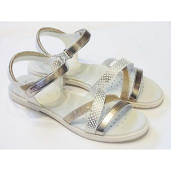 Geox Geox J Karly White Leather Sandal With Silver And Gold Crossover Straps