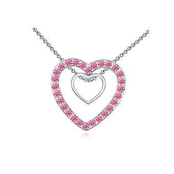 Double Silver Two Hearts Pendant Crystal Pink Stones Necklace BG1645