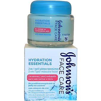 Johnson and Johnson Hydration Essentials Johnsons Face Care 2 in 1 Facial Gel Mask 50ml for Normal to Combination Skin