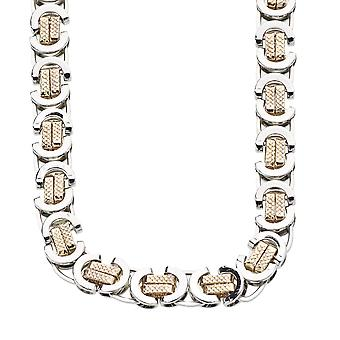 Iced out solid hip hop chain - BYZANTINE silver / gold