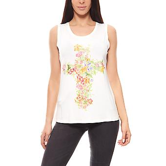 Aniston of FlowerCross ladies top White mullet-style