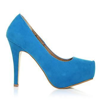 H251 Turquoise Faux Suede Stiletto High Heel Concealed Platform Court Shoes