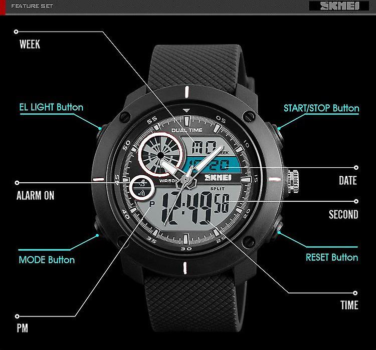 SKMEI Mens Black Dual Time Very Large Digital And Analogue Watch With Rubber Strap DG1361