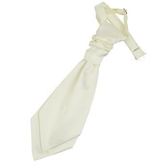 Elfenben ren Satin pre bundet bryllupet Cravat for gutter