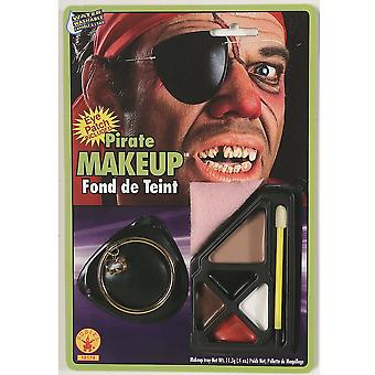 Pirate Captain Cutthroat Jack Sparrow Carribbean Mens Costume Makeup & Eye patch
