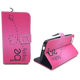 Mobile phone case pouch for mobile WIKO Rainbow jam be happy pink