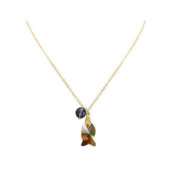Damen - Halskette - Anhänger - Vergoldet - Fisch - Orange - Goldbraun - Violett - 45 cm