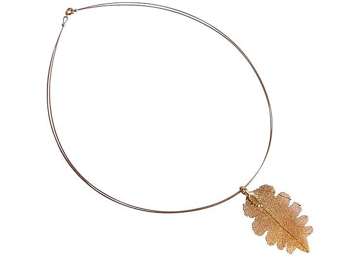 Blatt Blattkette Kette Eichenblatt Halskette veroret plattiert