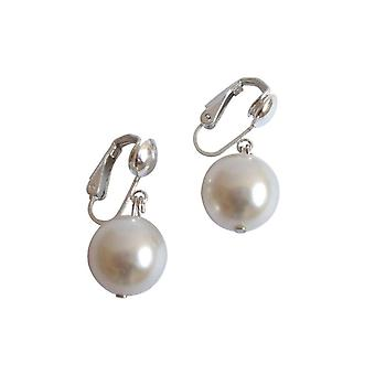 Ladies earrings pearls Tahiti white 925 Silver 12 mm