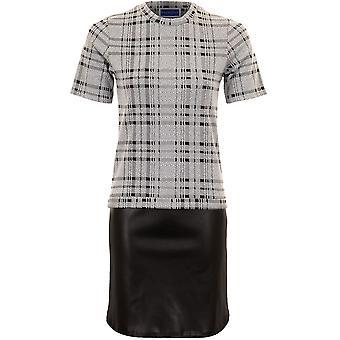 Damas manga corta oficina Smart Check PVC falda bloque Panel dobladillo Vestido de cambio