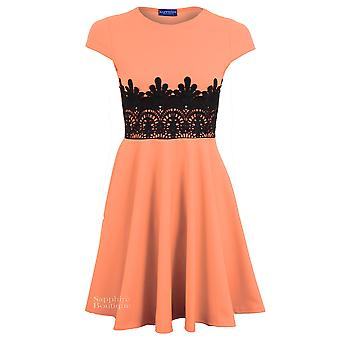 Ladies Cap Sleeve Lace Contrast Women's Skater Flare Bodycon Party Mini Dress