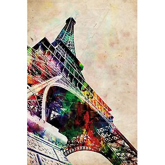 Eiffel Tower watercolor poster Michael Tompsett of the Eiffel Tower in water colours