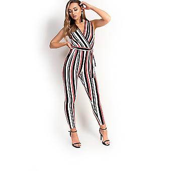 IKRUSH Womens Lorn Stripe Tie Taille Overall