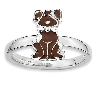 Sterling Silver Polished Rhodium-plated Brown Enameled Dog Stackable Ring - Ring Size: 5 to 10