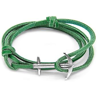 Anchor and Crew Admiral Silver and Leather Bracelet - Fern Green