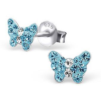 Dziewczyny, niebieski motyl Kryształowe kolczyki