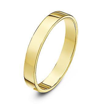 Star Wedding Rings 18ct Yellow Gold Light Flat Court Shape 3mm Wedding Ring