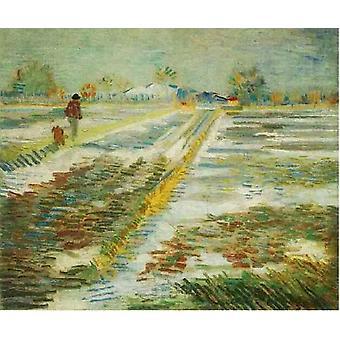 Landscape with Snow,Vincent Van Gogh,60x50cm