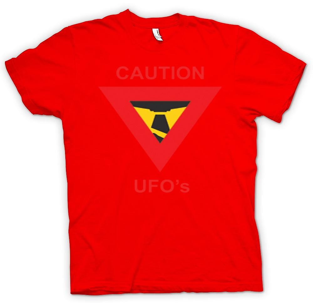 Mens T-shirt - Caution UFO's Warning Sign