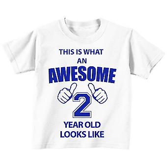 This is What An Awesome 2 Year Old Looks Like White Tshirt Blue Text