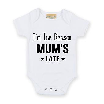 I'm The Reason Mum's Late White Short Sleeve Baby Grow