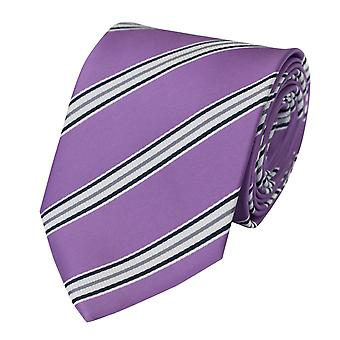 Tie tie tie tie 8cm purple white grey striped Fabio Farini