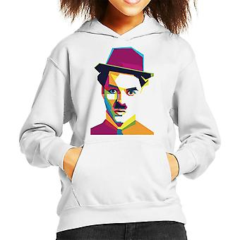 Geometric Celebrity Charlie Chaplin Kid's Hooded Sweatshirt