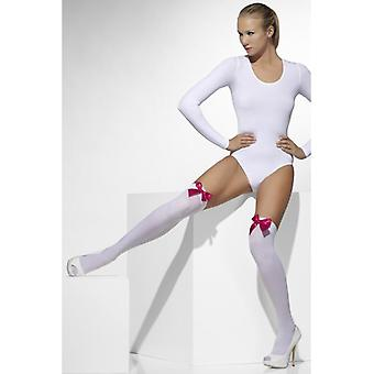 Womens White Opaque Hold-Ups With Pink Bows Fancy Dress Accessory