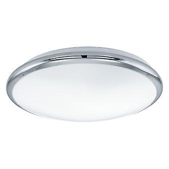Eglo - luz LED Flush de Manilva uma parede ou teto cabendo em cromo polido e acabamento branco EG93496