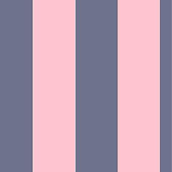 Brede streep strepen Stripey Wallpaper lijnen vet horizontale verticale Rasch Navy/roze