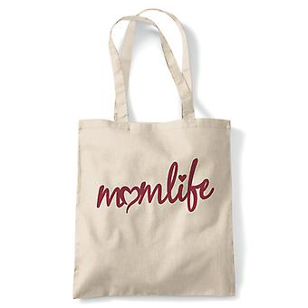 Momlife Heart Mumlife Tote| Reusable Shopping Cotton Canvas Long Handled Natural Shopper Eco-Friendly Fashion | Gym Book Bag Birthday Present Gift Him Her | Multiple Colours Available