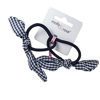 Molly & Rose Girls Elastic Hair Band With Gingham Bow 2pk Navy